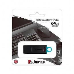 PENDRIVE 64GB USB 32 KINGSTON DT EXODIA NEGRO TURQUESA